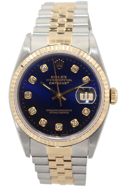 Rolex Oyster Perpetual Datejust  - 36mm - Two Tone - Blue Diamond Dial - Fluted Dial - Jubilee Band - Ref. 16233