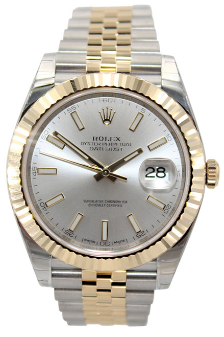 Rolex Oyster Perpetual Datejust 41 - 41mm - Two Tone - Silver Stick Dial - Fluted Bezel - Jubilee Bracelet - Ref. 126333 (Item #12976)