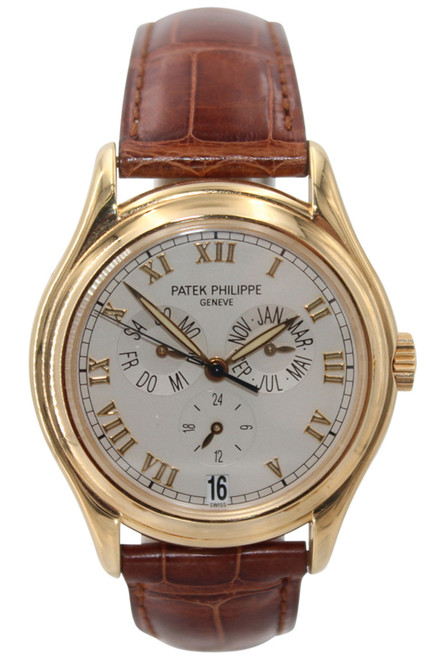 Patek Philippe 18k Yellow Gold- 38mm-White Dial-Roman Numerals-Triple Date Ref.5035G