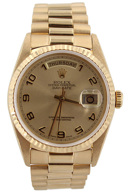 Rolex Oyster Perpetual Day-Date-President-36mm-18K Yellow Gold-Champagne Arabic Dial-Ref. 18238