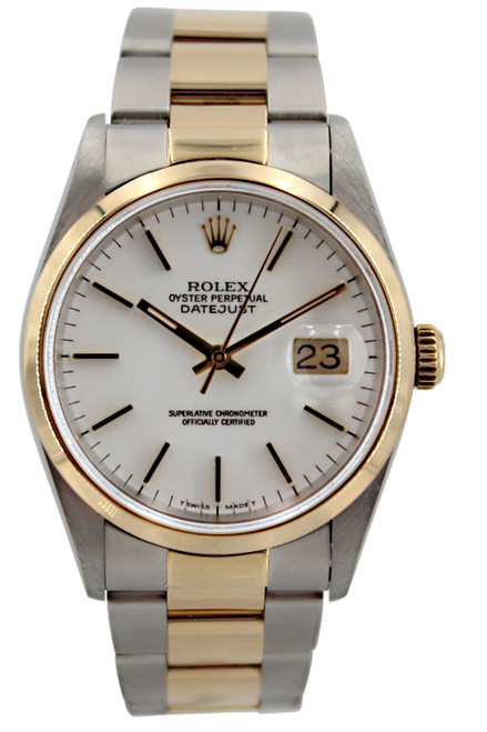 Rolex Oyster Perpetual Datejust - 36mm - Two Tone - White Stick Dial - Smooth Bezel - Oyster Bracelet - Ref. 16203