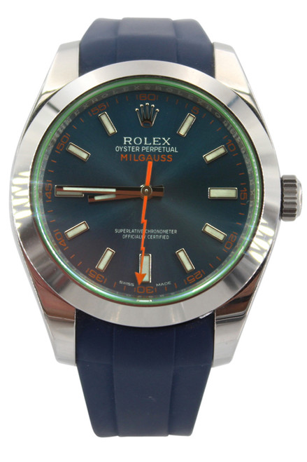 Rolex Oyster Perpetual Milgauss - 40mm - Stainless Steel - Blue Dial - Green Crystal - Blue Rubber B Strap - Ref. 116400