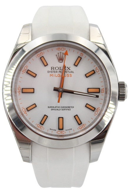 Rolex Oyster Perpetual Milgauss - 40mm - Stainless Steel - White Dial - White Rubber B Strap - Ref. 116400