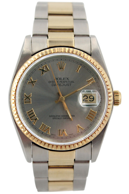 Rolex Oyster Perpetual Datejust - 36mm - Two Tone - Silver Roman Dial - Fluted Bezel - Oyster Band - Ref. 16233