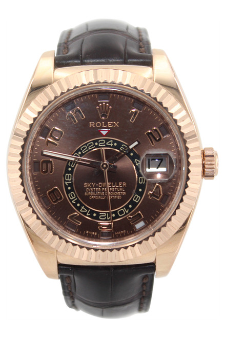 Rolex Oyster Perpetual Sky-Dweller - 42mm - 18k RG - Chocolate Dial - Brown Alligator  Strap - Ref. 326135