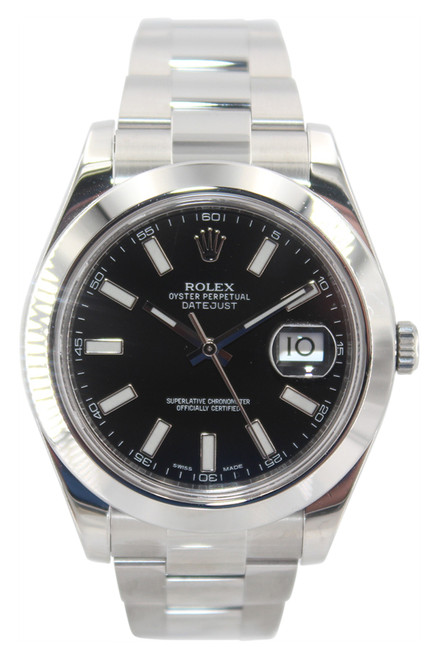 Rolex Oyster Perpetual Datejust II - 41mm - Stainless Steel - Black Stick Dial - Smooth Bezel - Ref. 116300