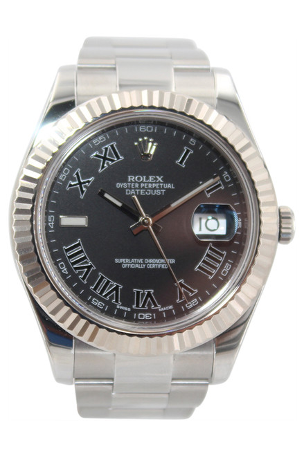 Rolex Oyster Perpetual Datejust II - 41mm - Stainless Steel - Fluted Bezel - Black Roman Dial - Ref. 116334