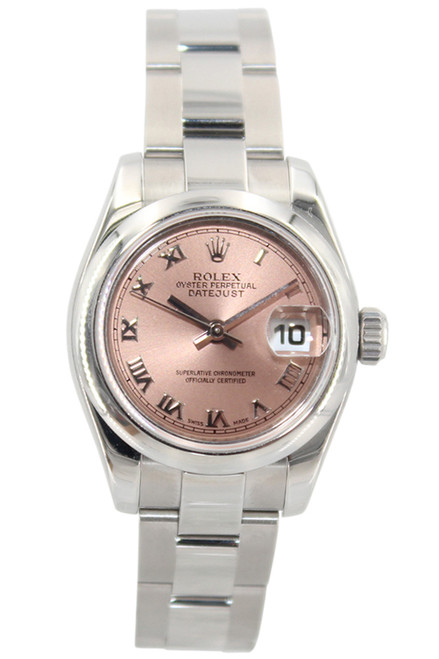 Rolex Oyster Perpetual Lady-Datejust - 26mm - Stainless Steel - Pink Roman Dial - Smooth Bezel - Ref. 179160