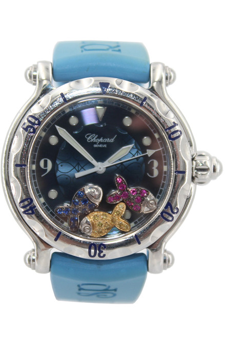Chopard Happy Sport Happy Beach - 38mm - Stainless Steel - Blue Arabic Dial With 3 Floating Fish - Blue Rubber Strap - Quartz -Ref. 288347-3012