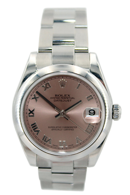 Rolex Oyster Perpetual Datejust - 31mm - Stainless Steel - Pink Roman Dial - Smooth Bezel - Oyster Bracelet - Ref. 178240