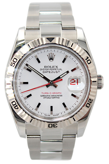Rolex Oyster Perpetual Datejust Turn-o-graph - 36mm - Stainless Steel - White Stick Dial - Turn-o-graph Fluted Bezel - Oyster Bracelet - Ref. 116264