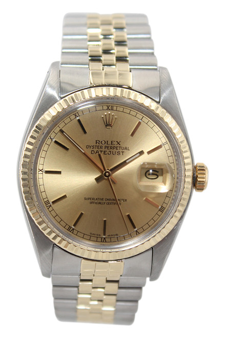 Rolex Oyster Perpetual Datejust - 36mm - Two Tone - Champagne Stick Dial - Fluted Bezel - Jubilee Bracelet - Ref. 16013