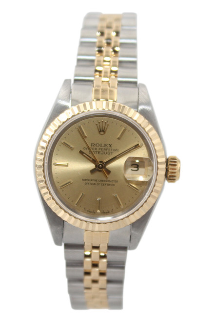 Rolex Oyster Perpetual Datejust - 26mm - Two Tone - Champagne Stick Dial - Fluted Bezel - Jubilee Bracelet - Ref. 69173