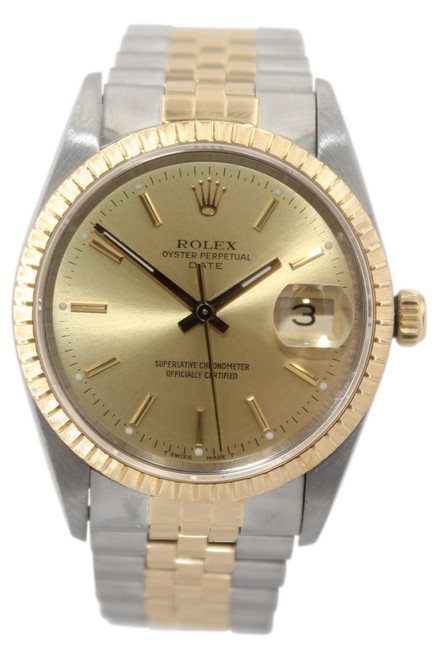 Rolex Oyster Perpetual Date - 34mm - Two Tone- Champagne Stick Dial - Fluted Bezel - Jubilee Bracelet - Ref. 15223