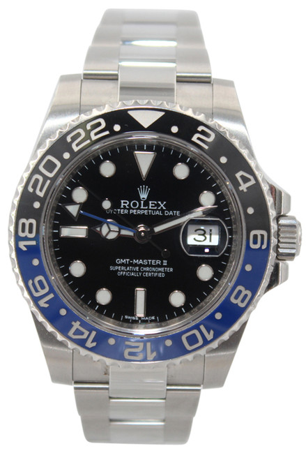 """Rolex Oyster Perpetual Date GMT-Master II - 40mm - Stainless Steel - Black and Blue """"Batman"""" Bezel - Black Dial - Ref. 116710"""