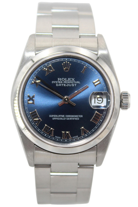 Rolex Oyster Perpetual Datejust - 31mm - Stainless Steel - Blue Roman Dial - Smooth Bezel - Oyster Bracelet - Ref. 68240