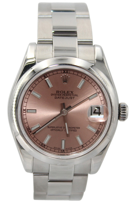 Rolex Oyster Perpetual Datejust - 31mm - Stainless Steel - Pink Stick Dial - Smooth Bezel - Oyster Bracelet - Ref. 178240