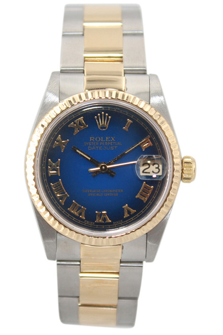 Rolex Oyster Perpetual Datejust - 31mm - Two Tone - Blue Vignette Roman Dial - Fluted Bezel - Oyster Bracelet - Ref. 68273