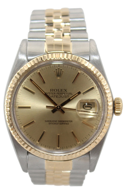 Rolex Oyster Perpetual Datejust - 36mm - Two Tone - Champagne Stick Dial - Fluted Bezel - Jubilee Bracelet - Ref. 16013 (Item #12819)