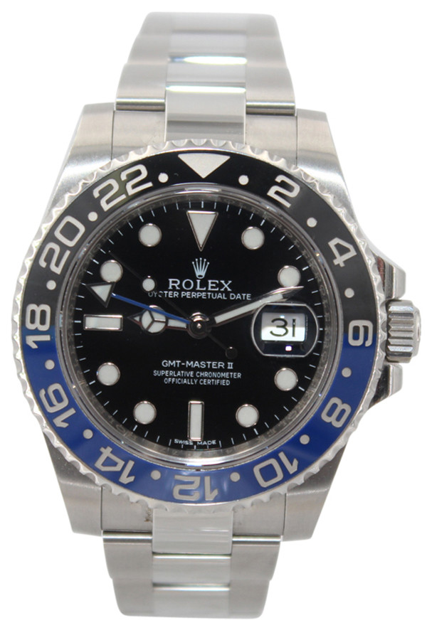 """Rolex Oyster Perpetual Date GMT-Master II - 40mm - Stainless Steel - Black and Blue  """"Batman"""" Bezel - Ref. 116710"""