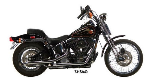 "1¾"" Staggered Dual Exhaust Systems For 1984-1999 Evolution Softails - 40""-long Slash Cut drag pipes"