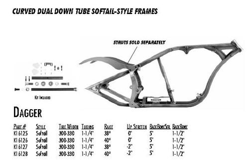 "Dagger / Softail Style 300/330 DDT / 1-1/4"" 40 Rake 0"" Stretch 5"" BBS 1-1/2"" Backbone"