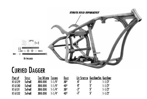 "Curved Dagger / Softail Style 300/330 DDT / 1-1/4"" 38 Rake 0"" Stretch 5"" BBS 1-1/2"" Backbone"