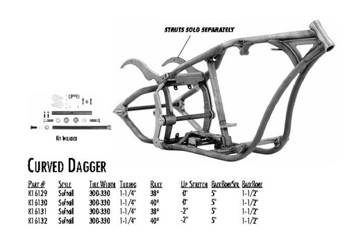 "Curved Dagger / Softail Style 300/330 DDT / 1-1/4"" 40 Rake 0"" Stretch 5"" BBS 1-1/2"" Backbone"