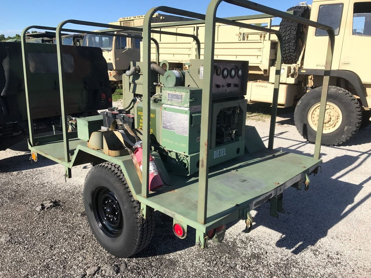 MILITARY MEP-002A 5KW 120 240 VAC 1 & 3 PHASE PORTABLE DIESEL GENERATOR TRAILER