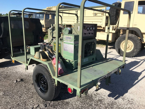 MILITARY MEP-002A 5KW 120 240 VAC 1 & 3 PHASE PORTABLE DIESEL GENERATOR TRAILER