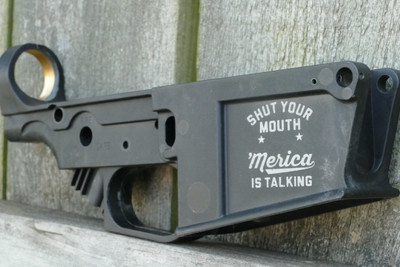 BLACK AR308/10 'MERICA IS TALKING ENGRAVING