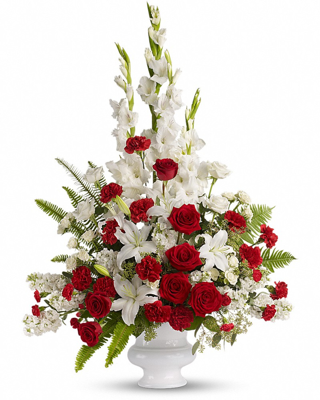 Red and white sympathy basket fnfsb 29 sympathy tributes red and white sympathy basket fnfsb 29 izmirmasajfo
