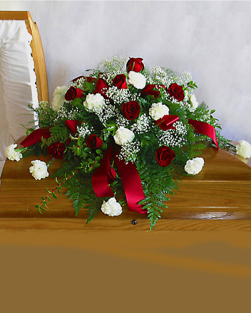 Red and White Casket Spray-FNRW-01