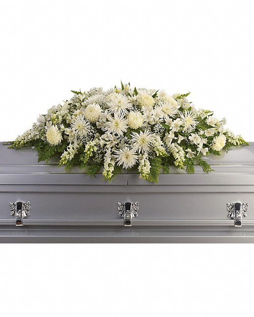 All White Casket Spray-T264-3A