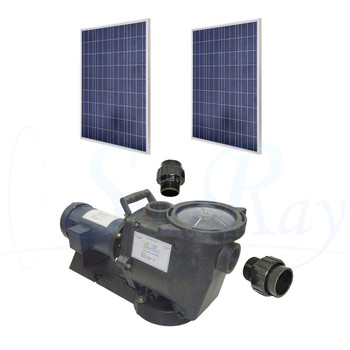 SunRay SolFlo1 - 1/2 HP DC - 2 Solar Panels 500w Filter Pool Pump Systems 30GPM 14FT Head 60VDC Brush Type Motor Complete