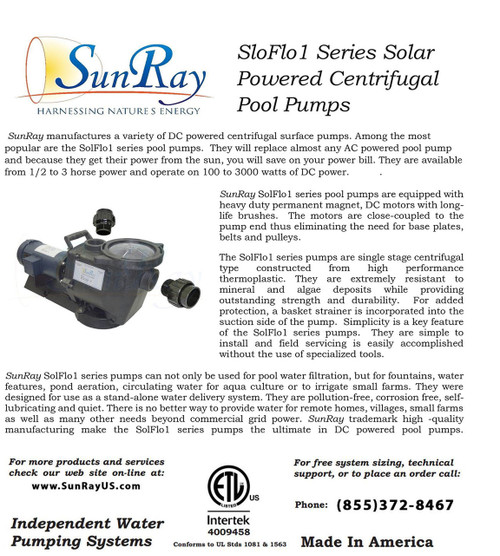 SunRay SolFlo1 (without solar) 1 1/2 DC Solar Pool Pump Systems 150GPM 0FT Head 180VDC