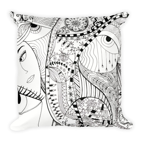 Tale of faces square pillow