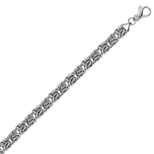 Sterling Silver Byzantine Chain Bracelet with Rhodium Plating