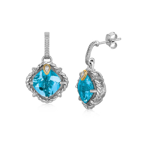 18K Yellow Gold and Sterling Silver Blue Topaz and Diamond Accent Drop Earrings
