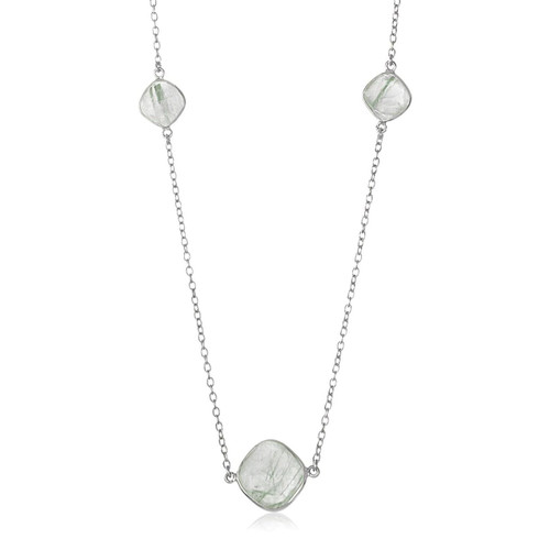 Sterling Silver Rhodium Plated Green Rutilated Quartz Cushion Station Necklace