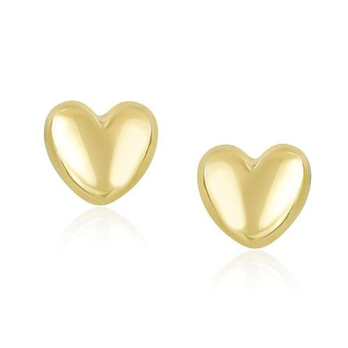 14K Yellow Gold Puffed Heart Shape Shiny Earrings - 16852