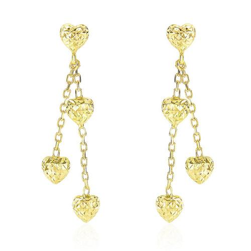 14K Yellow Gold Puffed Heart Diamond Cut Chain Dangling Earrings