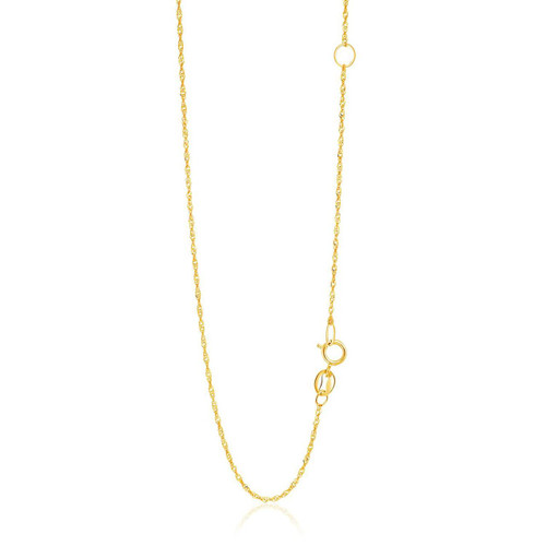 1.1mm 14K Yellow Gold Adjustable Singapore Chain