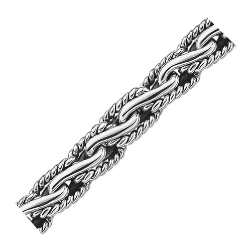 Oxidized Sterling Silver Men's Chain Bracelet in a Cable Motif
