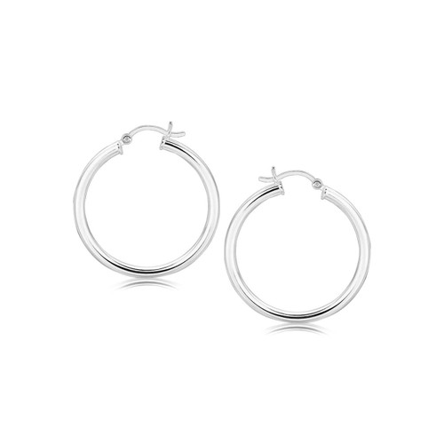 Polished Rhodium Plated Hoop Earrings in Sterling Silver (30mm)