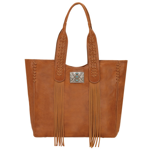 American West Mohave Canyon Large Zip Top Tote Golden Tan