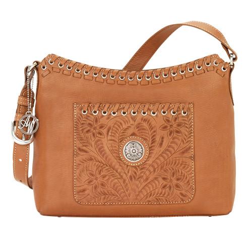 American West Harvest Moon Zip Top Shoulder Bag Golden Tan