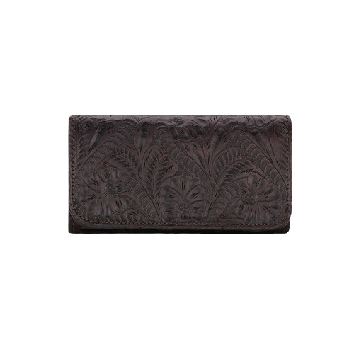 America West Annie's Secret Collection Chocolate Brown Ladies' Tri-fold Wallet