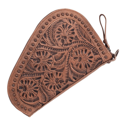 Padded Hand Tooled Leather Gun Case Dusty Rose