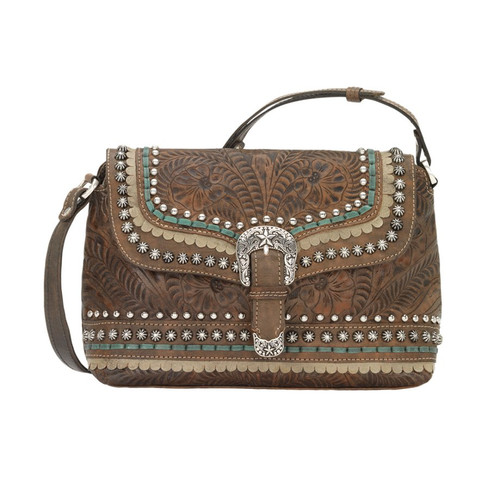 American West Blue Ridge Flap Crossbody Bag Distressed Charcoal Brown / Sand / Turquoise